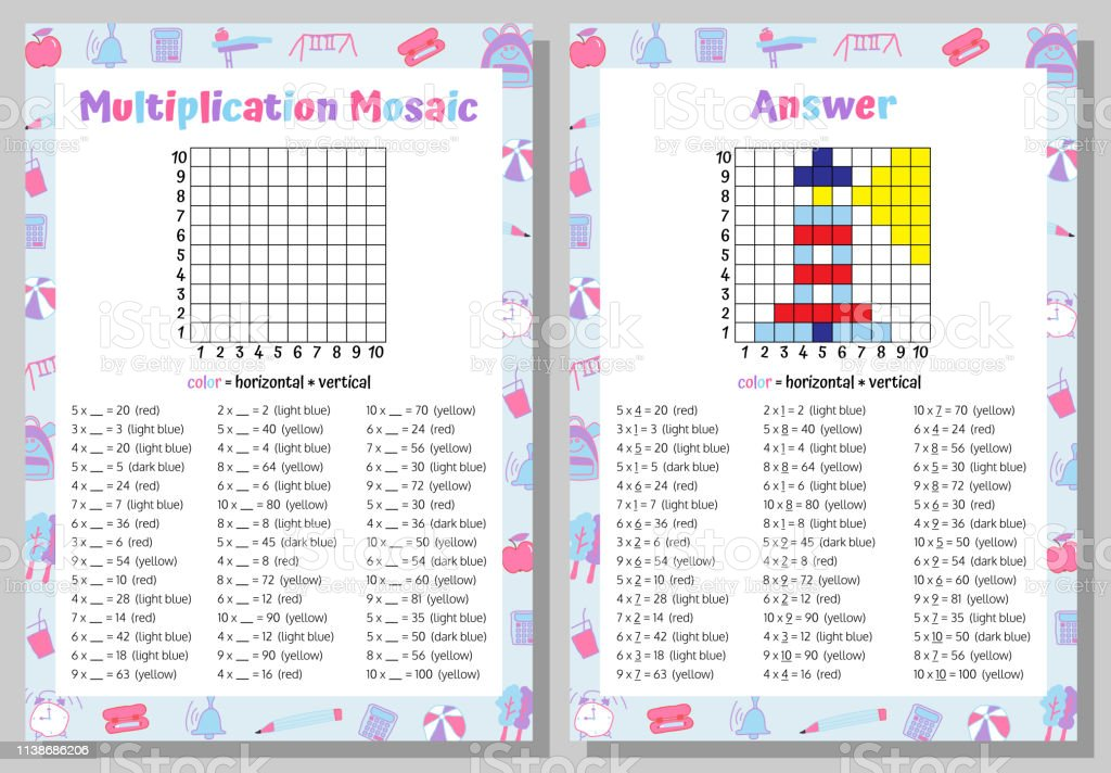 Multiplication Mosaic Math Puzzle Worksheet Educational Game ...