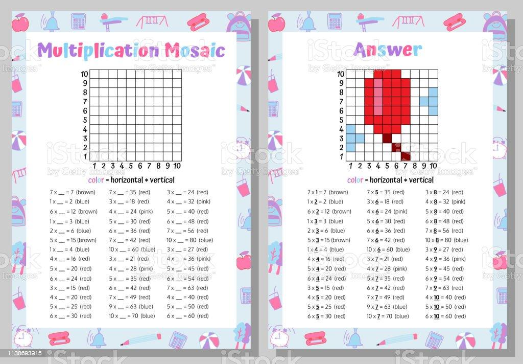 Ilustración De Multiplicación Mosaico Matemáticas Puzzle