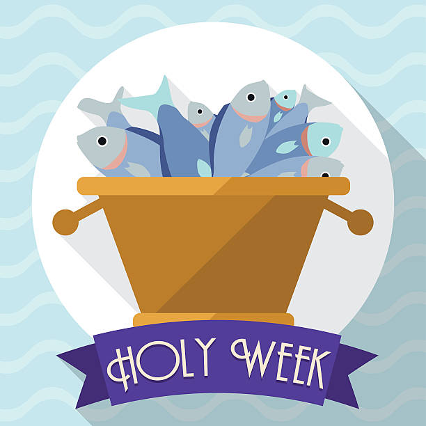 Multiplication of Fishes Scene in Flat Style for Holy Week Rounded icon with multiplication of fishes in basket with purple ribbon designed in flat style and long shadow. lent stock illustrations