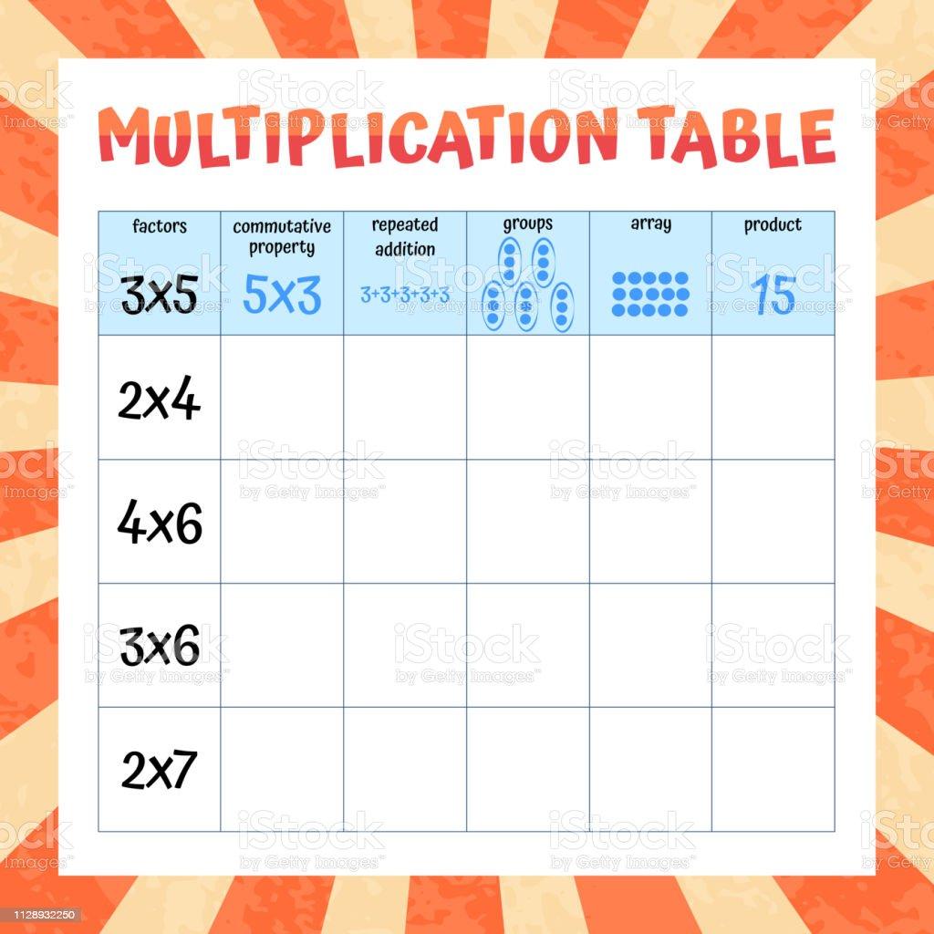 Carpim Tablosu Matematik Calisma Egitici Bir Oyun Vektor Cizim