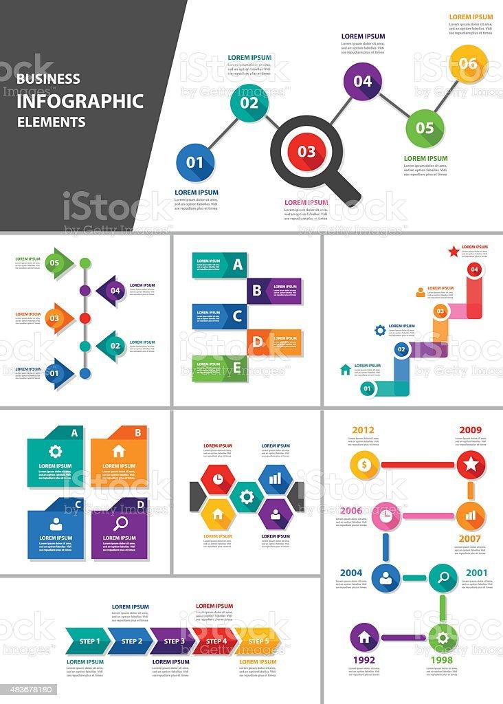 Multipurpose infographic element Template set 1 vector art illustration