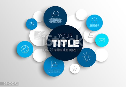 istock Multipurpose infographic made from blue content circles 1254005372