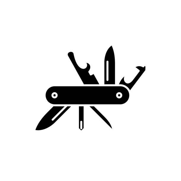 multipurpose knife black icon, vector sign on isolated background. multipurpose knife concept symbol, illustration - пищевая цепь stock illustrations