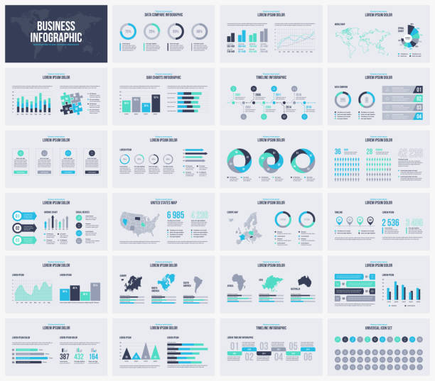 multipurpose presentation vector template infographic. - infographics stock illustrations, clip art, cartoons, & icons