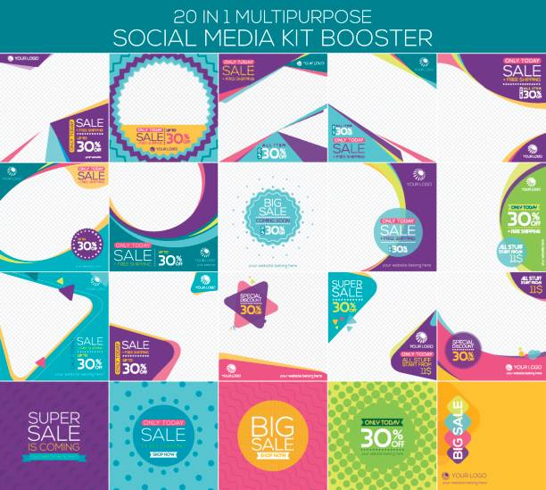 Multipurpose social media kit booster Multipurpose social media kit booster. Available in 20 alternate design, suitable for your promotion commercial event stock illustrations