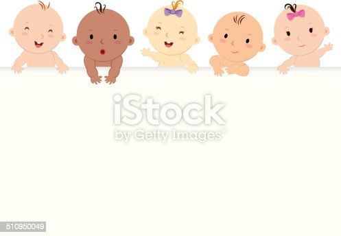 185267233 istock photo Multiracial babies with banner 510950049