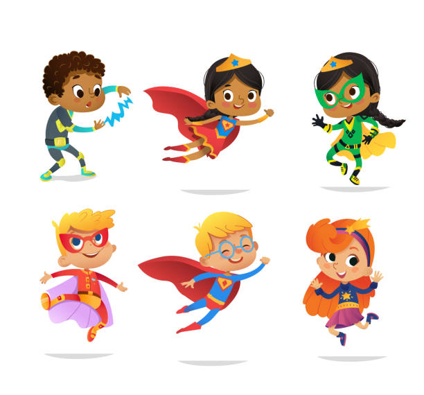 stockillustraties, clipart, cartoons en iconen met multiraciale jongens en meisjes, dragen kleurrijke kostuums van verschillende superhelden, geïsoleerd op een witte achtergrond. stripfiguren van de vector van kid superhelden, voor de partij uitnodigingen, web, mascotte - kind