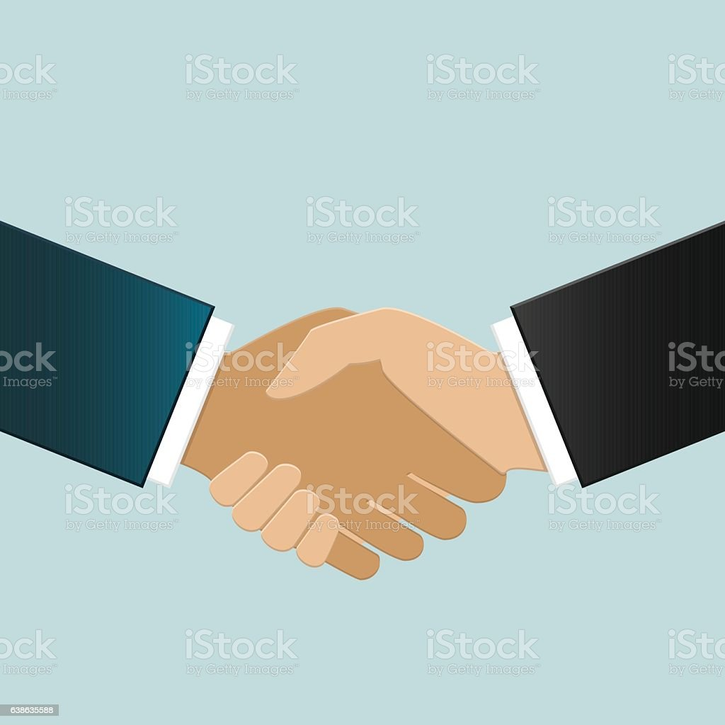 Multiracial business people shaking hands vector art illustration