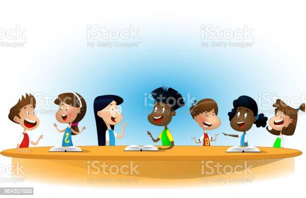 Multiracial children studying reading books and discuss them vector id954357530?b=1&k=6&m=954357530&s=612x612&h=uhhhgsmwfzogpdejzot2dgkijrf2l2 gejztbodo8ge=