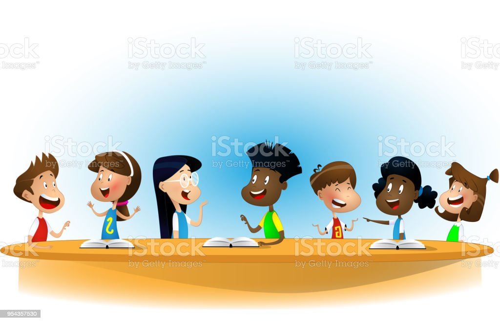 Multiracial children studying, reading books and discuss them. vector art illustration