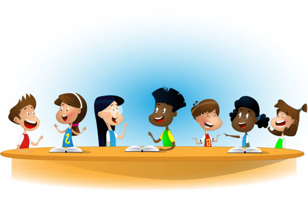 multiracial children studying, reading books and discuss them. - language class stock illustrations