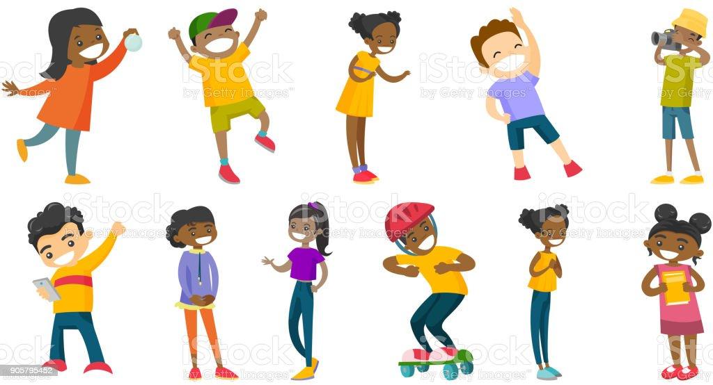 Multiracial children vector illustrations set vector art illustration