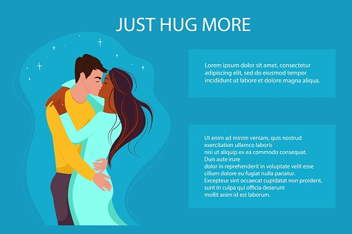 Multiracial couple in love, banner in support of multiracial couples, vector illustration in flat style. Multiethnic family