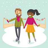 Multiracial couple ice skating outdoors on a pond on a winter day. Young Caucasian man and African-american woman holding hands and skating on ice rink outdoors. Vector isolated cartoon illustration.