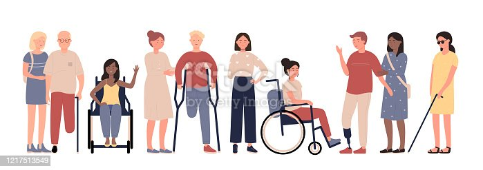 istock Multiracial disabled people with friends characters flat vector illustration set 1217513549