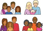 A set of four different multiracial families, all characters are individually grouped for easy editing. See my portfolio for more in this series. Click below for more kid's images