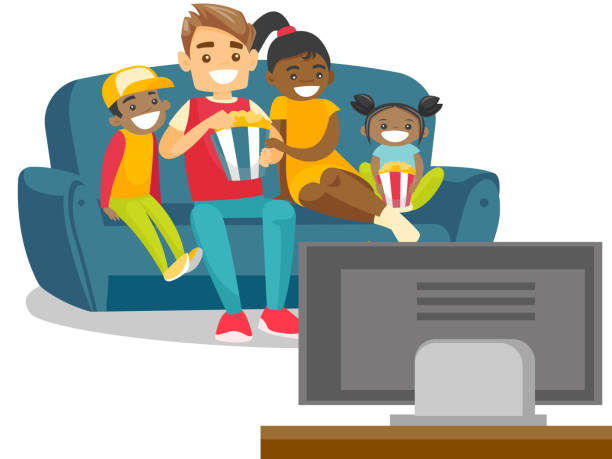 Multiracial family watching television at home Happy multiracial parents with biracial kids sitting on the couch, eating popcorn and watching television together at home. Vector cartoon illustration isolated on white background. Square layout. isolated color stock illustrations