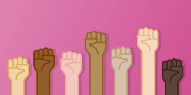 illustrazioni stock, clip art, cartoni animati e icone di tendenza di multiracial fists hands up vector illustration. breast cancer awareness month. pink color. flat design - mano donna dita unite