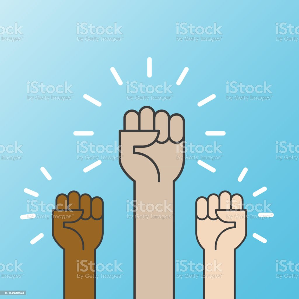 Multiracial Fists Hands Up Vector Illustration Concept Of Unity Revolution  Fight Cooperation Flat Outline Design Stock Illustration - Download Image