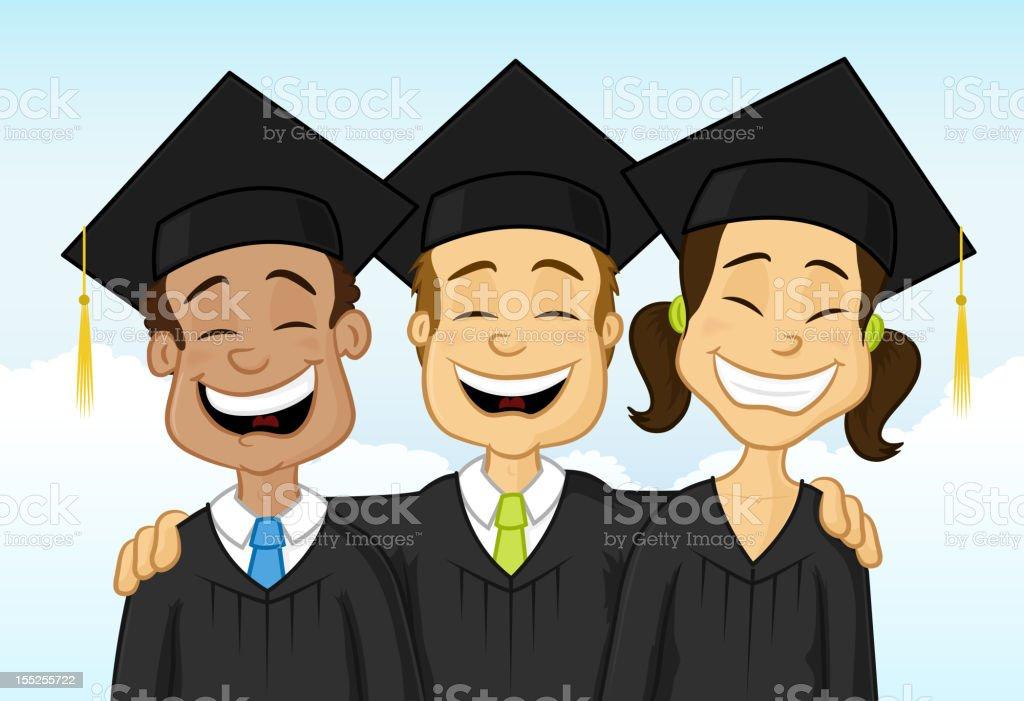 Multiracial graduates royalty-free stock vector art