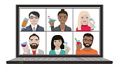 istock Multiracial group of friends hangout together on remote video chat meeting with drinks 1254485398