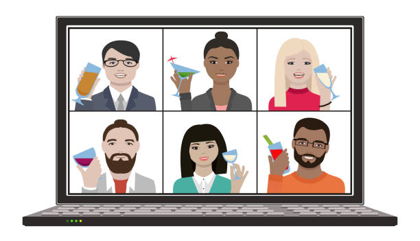 illustrazioni stock, clip art, cartoni animati e icone di tendenza di multiracial group of friends hangout together on remote video chat meeting with drinks - hand on glass covid