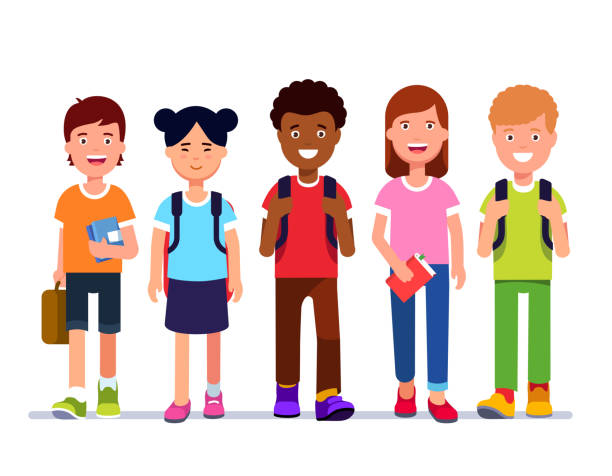Multiracial group of school students walk together holding books & school bags & carrying backpacks. Flat isolated vector Smiling kids school students walk together holding books & schoolbags & carrying backpacks. Multiracial kid group walking. Multicultural schoolmates socialising. Flat vector character illustration clip art stock illustrations