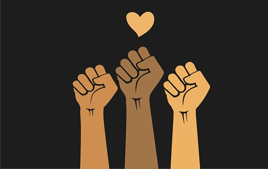 protest. People of different races raising hands with clenched fists, isolated on a black background. Protests against police brutality. Human rights, justice and equality concept - vector illustration.