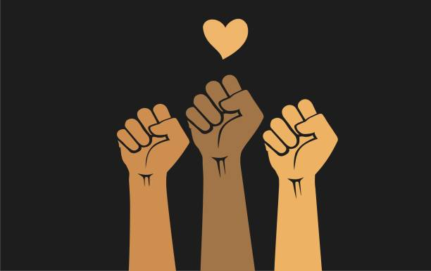 Multiracial human hands raised with clenched fists and heart shape, isolated on a black background. Protest concept for justice and civil rights. protest. People of different races raising hands with clenched fists, isolated on a black background. Protests against police brutality. Human rights, justice and equality concept - vector illustration. civil rights stock illustrations