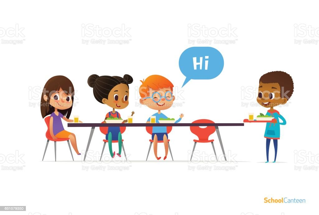 Multiracial kids sitting at table in school canteen and greeting newcomer boy holding tray with food. Children s relationships concept. Vector illustration for banner, website, poster, advertisement. vector art illustration