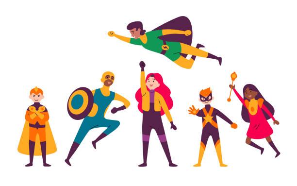 Masse-Kids, die Kostüme verschiedener Superhelden tragen. – Vektorgrafik