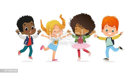istock Multiracial school kids. Boys and girls are playing together happily jump. Kids Play at the grass. The concept is fun and vibrant moments of childhood. Vector illustrations 1187555455