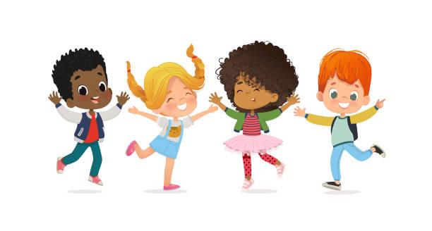 stockillustraties, clipart, cartoons en iconen met multiraciale schoolkinderen. jongens en meisjes spelen samen gelukkig springen. kinderen spelen op het gras. het concept is leuke en levendige momenten van de kindertijd. vector illustraties - schoolmeisje