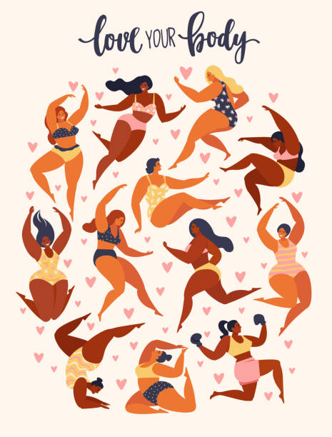 Multiracial women of different height, figure type and size dressed in swimsuits standing in row. Female cartoon characters. Body positive movement and beauty diversity. Vector illustration. Multiracial women of different height, figure type and size dressed in swimsuits standing in row. Female cartoon characters. Body positive movement and beauty diversity. body positive stock illustrations