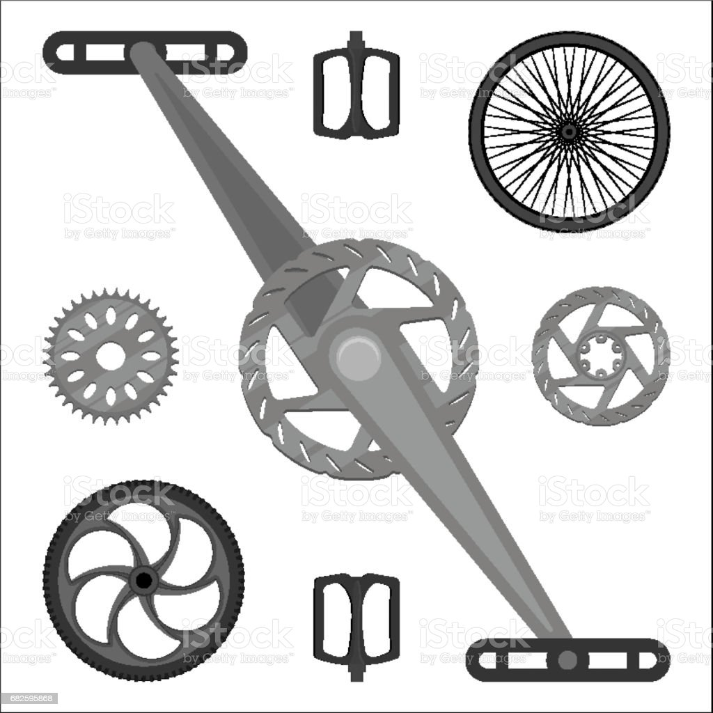 Multispeed BMX bike brake parts, pedals, peg gears and wheels vector art illustration