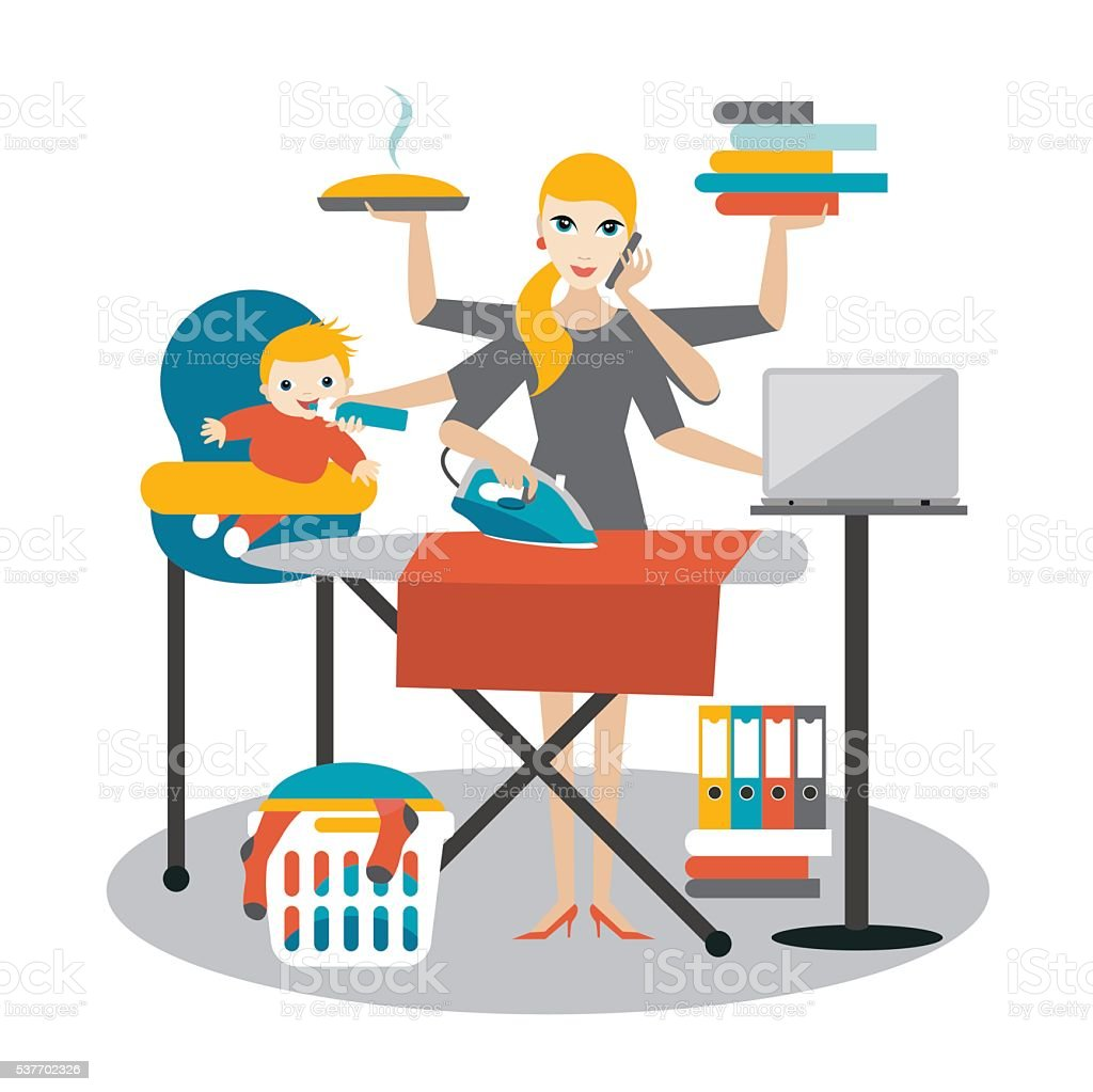 Multitask woman. Mother, businesswoman with baby, ironing, working, coocking, calling. vector art illustration