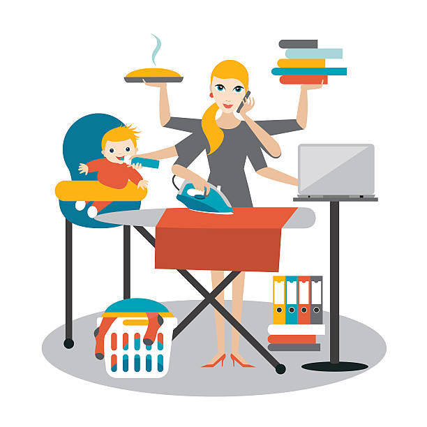 multitask woman. mother, businesswoman with baby, ironing, working, coocking, calling. - busy restaurant kitchen stock illustrations