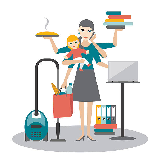 multitask woman. mother, businesswoman with baby working, coocking and calling. - busy restaurant kitchen stock illustrations
