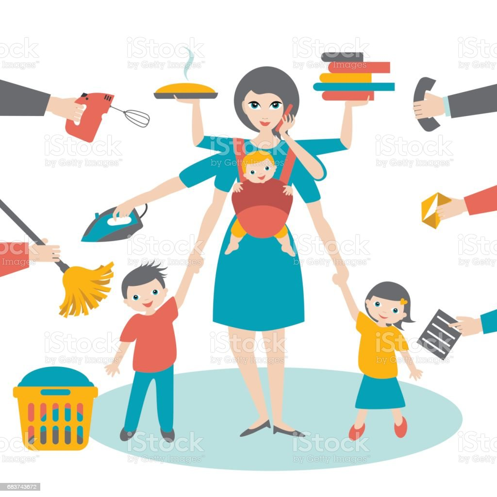 Multitask woman. Mother, businesswoman with children and baby vector art illustration