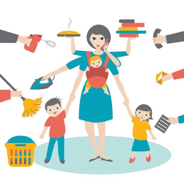 illustrations, cliparts, dessins animés et icônes de multitask woman. mother, businesswoman with children and baby - femmes actives
