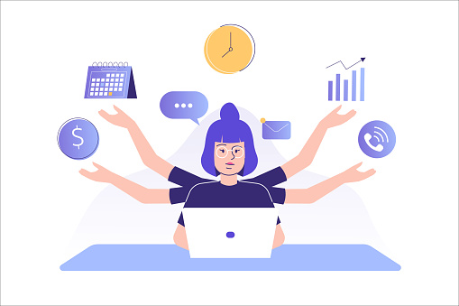 Multitasking and time management concept. Young freelancer woman or business manager working at office. Office worker doing professional multitasking. Multitasking skill. Isolated vector illustration