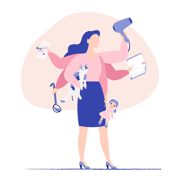 Multitasking business woman and mother concept. Young mother and business woman with six hands doing a lot of tasks at the same time. Flat colorful vector illustration. tired woman stock illustrations