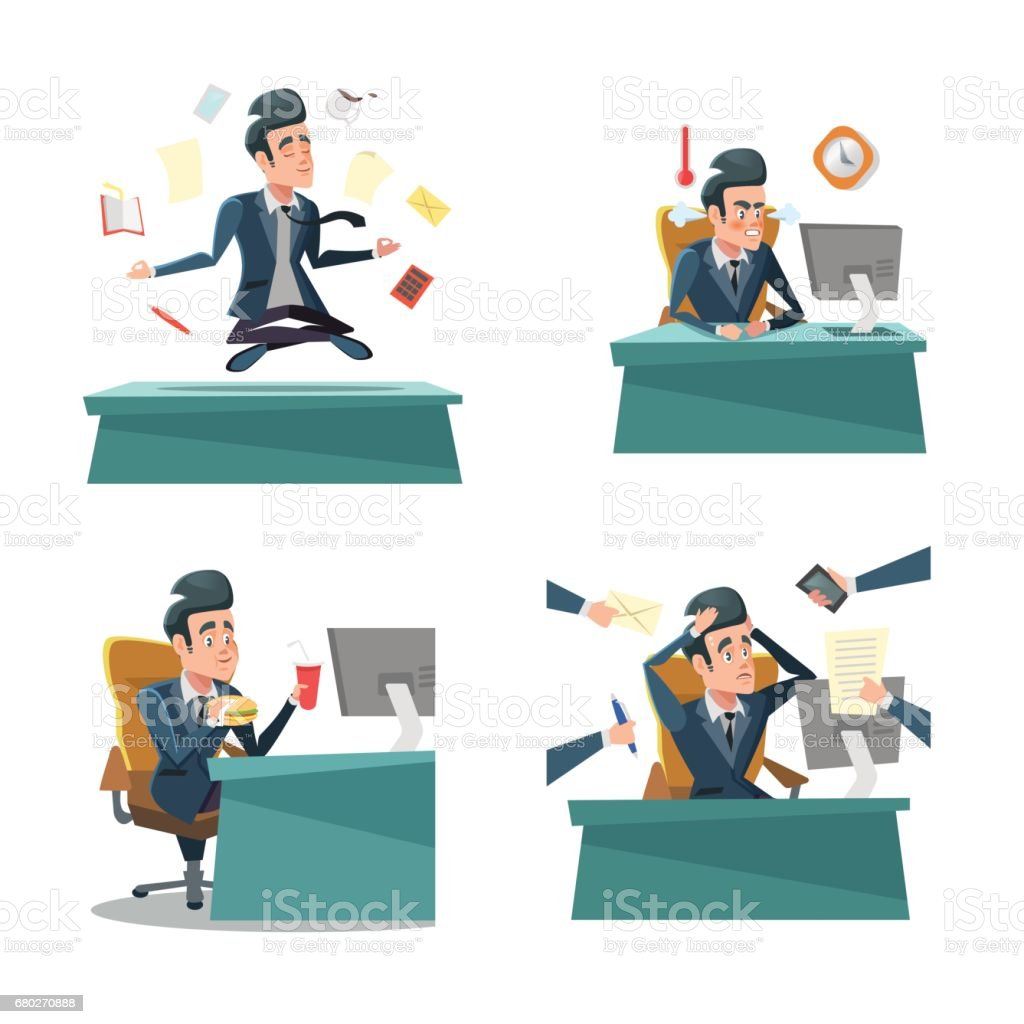 Multitasking Businessman At Work Office Life Stock Vector Art More