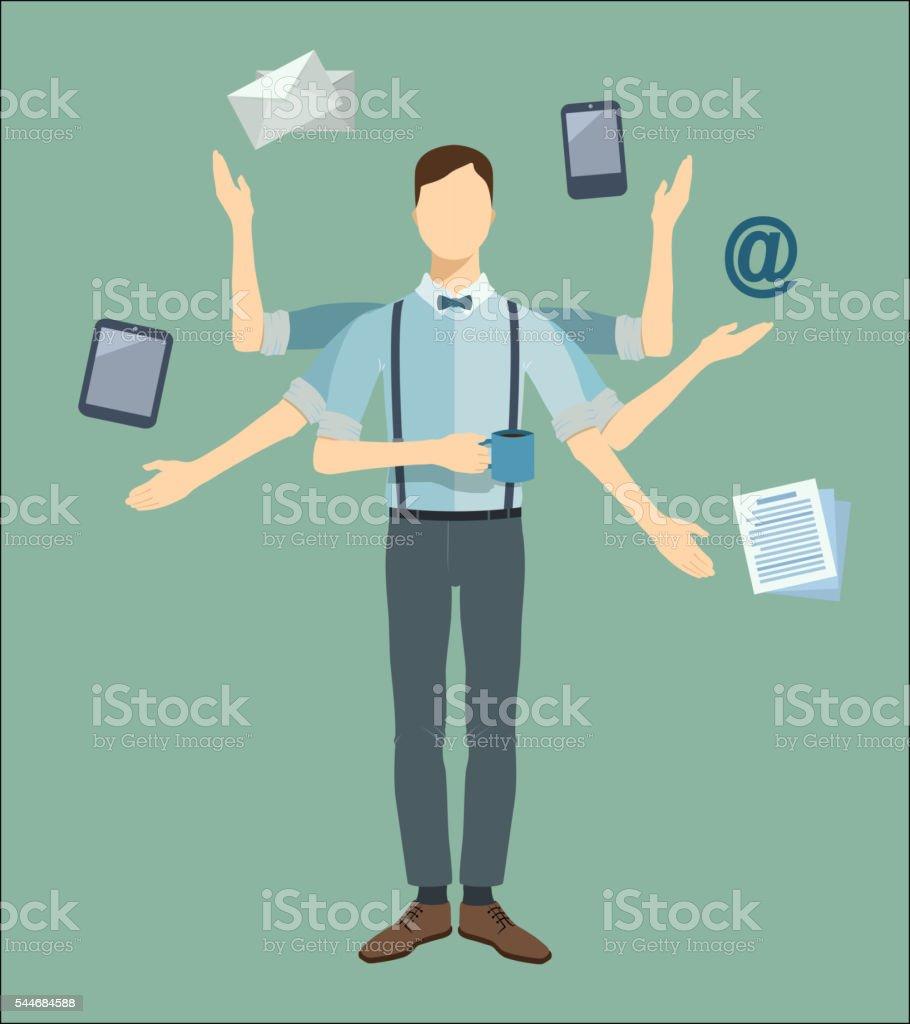 Multitasking businessman with six hands. Vector concept illustration. vector art illustration