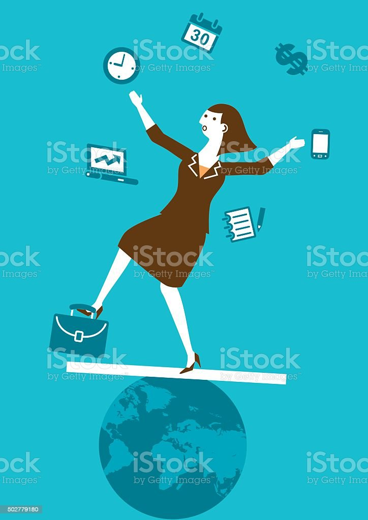 Multitasking Businesswoman Juggler   New Business Concept vector art illustration