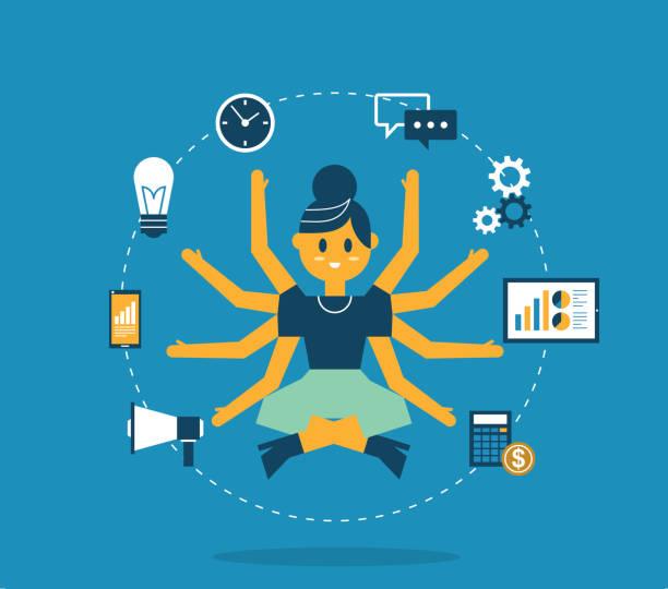 Multitasking - Businesswoman vector art illustration