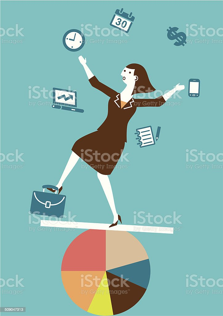 Multitasking (Juggling) Businesswoman | Yellow Business Concept vector art illustration