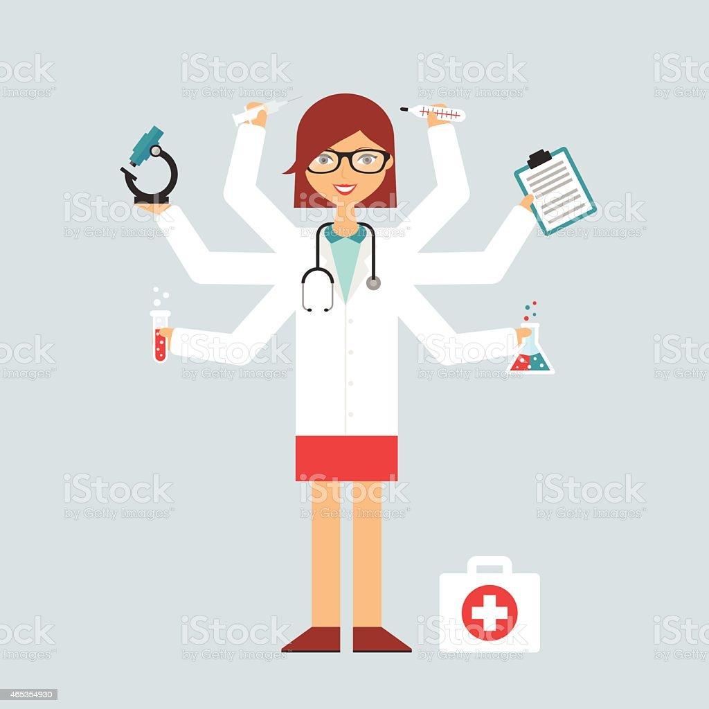 Multitasking character: doctor vector art illustration