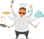 Multitasking chef cooking. Vector funny character isolate on white