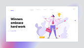 Multitasking Efficient Business Success Concept with Businessman Character Having Six Hands Doing Several Actions. Landing Page with Productive Man for Website, Web Page. Flat Vector Illustration